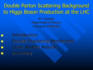 Double Parton Scattering Background  to Higgs Boson Production at the LHC