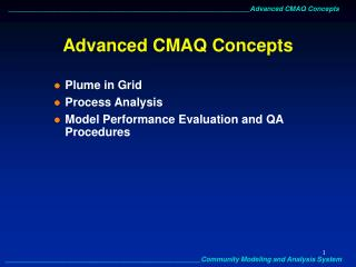 Advanced CMAQ Concepts