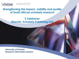University of Pretoria Research Information Session
