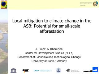 Local mitigation to climate change in the ASB: Potential for small-scale afforestation
