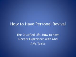 How to Have Personal Revival