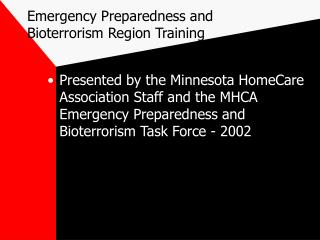 Emergency Preparedness and Bioterrorism Region Training