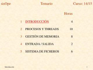 Horas INTRODUCCIÓN 4 PROCESOS Y THREADS10 GESTIÓN DE MEMORIA8 ENTRADA / SALIDA2
