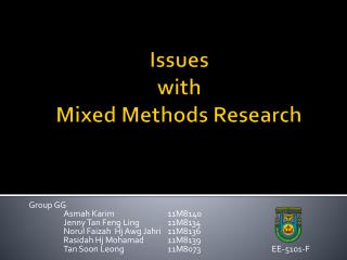 Issues  with  Mixed Methods Research