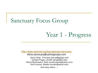 Sanctuary Focus Group