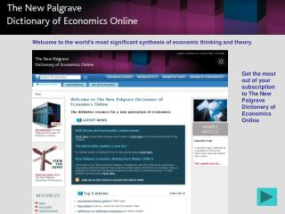 Get the most out of your subscription to The New Palgrave Dictionary of Economics Online