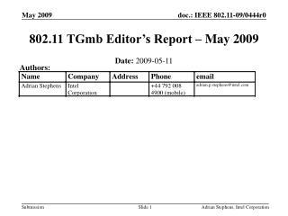 802.11 TGmb Editor's Report – May 2009