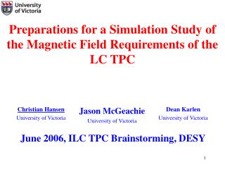 Preparations for a Simulation Study of the Magnetic Field Requirements of the LC TPC