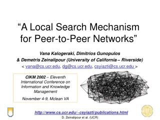 """A Local Search Mechanism for Peer-to-Peer Networks"""