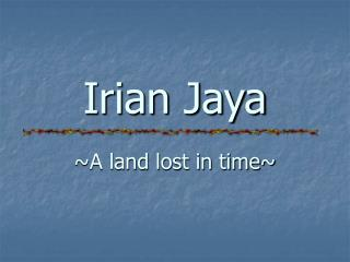 Irian Jaya ~A land lost in time~