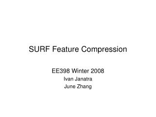 SURF Feature Compression