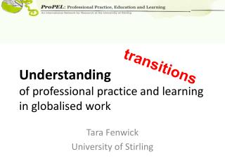 Understanding of professional practice and learning in globalised work