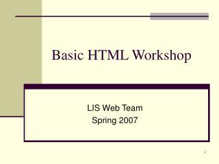 Basic HTML Workshop