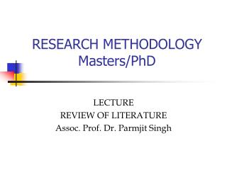 RESEARCH METHODOLOGY Masters