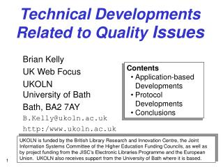 Technical Developments  Related to Quality  Issues