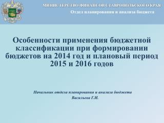 Начальник отдела планирования и анализа бюджета      Васильева Г.И.