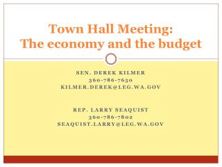 Town Hall Meeting: The economy and the budget