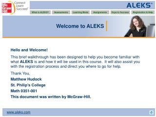 Welcome to ALEKS