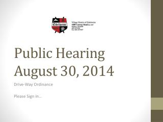 Public Hearing August 30, 2014