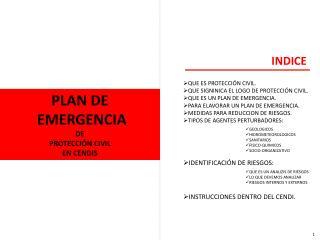 PLAN DE  EMERGENCIA  DE  PROTECCIÓN CIVIL  EN CENDIS