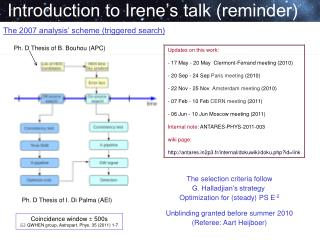 Introduction to Irene's talk (reminder)