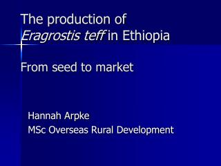 The production of  Eragrostis teff  in Ethiopia From seed to market