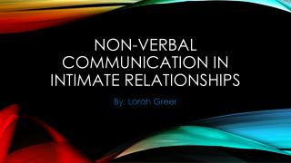 Non-verbal communication in intimate relationships