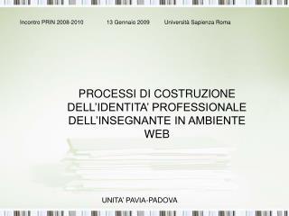 PROCESSI DI COSTRUZIONE DELL'IDENTITA' PROFESSIONALE DELL'INSEGNANTE IN AMBIENTE WEB