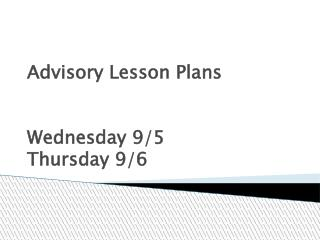 Advisory Lesson Plans