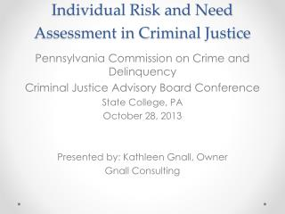 Individual Risk and Need Assessment in Criminal Justice