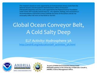 Global Ocean Conveyor Belt, A Cold Salty Deep