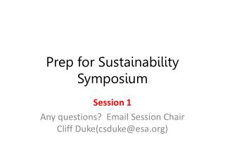 Prep for Sustainability Symposium