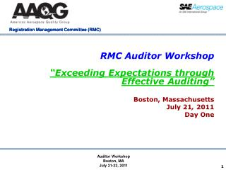RMC Auditor Workshop   Exceeding Expectations through Effective Auditing