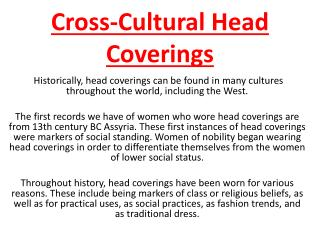 Cross-Cultural Head Coverings