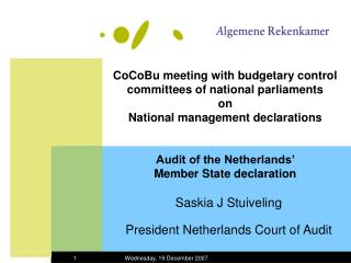 Saskia J Stuiveling President Netherlands Court of Audit