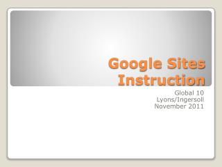 Google Sites Instruction