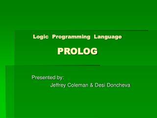 Logic  Programming  Language  PROLOG