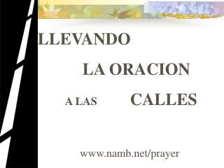 LLEVANDO  LA ORACION           A LAS        CALLES namb/prayer