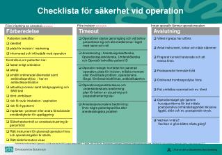 Checklista f�r s�kerhet vid operation