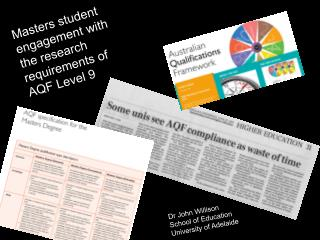 Masters student engagement with the research requirements of AQF Level 9