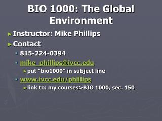 BIO 1000: The Global Environment