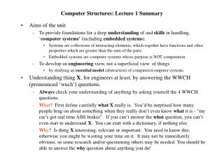 Computer Structures: Lecture 1 Summary