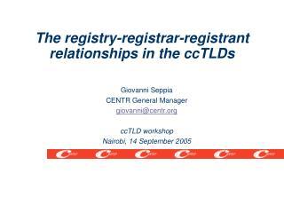 Giovanni Seppia CENTR General Manager giovanni@centr ccTLD workshop Nairobi, 14 September 2005