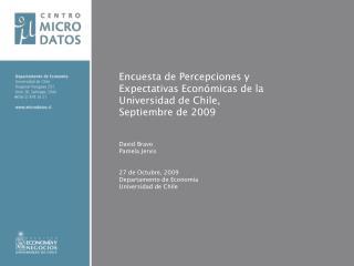 Encuesta de Percepciones y Expectativas Económicas de la Universidad de Chile,  Septiembre de 2009