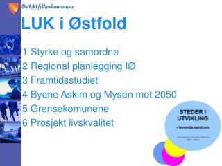1 Styrke og samordne 2 Regional planlegging IØ 3 Framtidsstudiet 4 Byene Askim og Mysen mot 2050