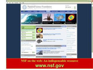 NSF on the web- An indispensable resource nsf