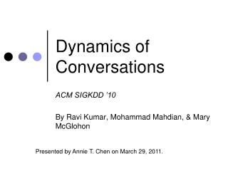 Dynamics of Conversations