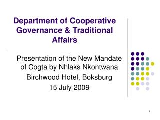 Department of Cooperative Governance  Traditional Affairs
