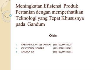 Oleh: ARDIYANA DWI SETYAWAN  (105100200111024) O KKY  Z AINUS  S URUR (105100203111002)