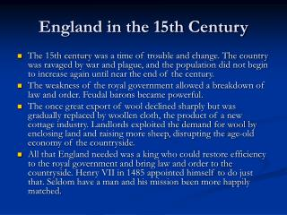England in the 15th Century
